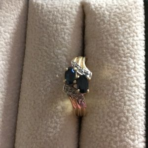 Sapphire and diamond accent 14k ring